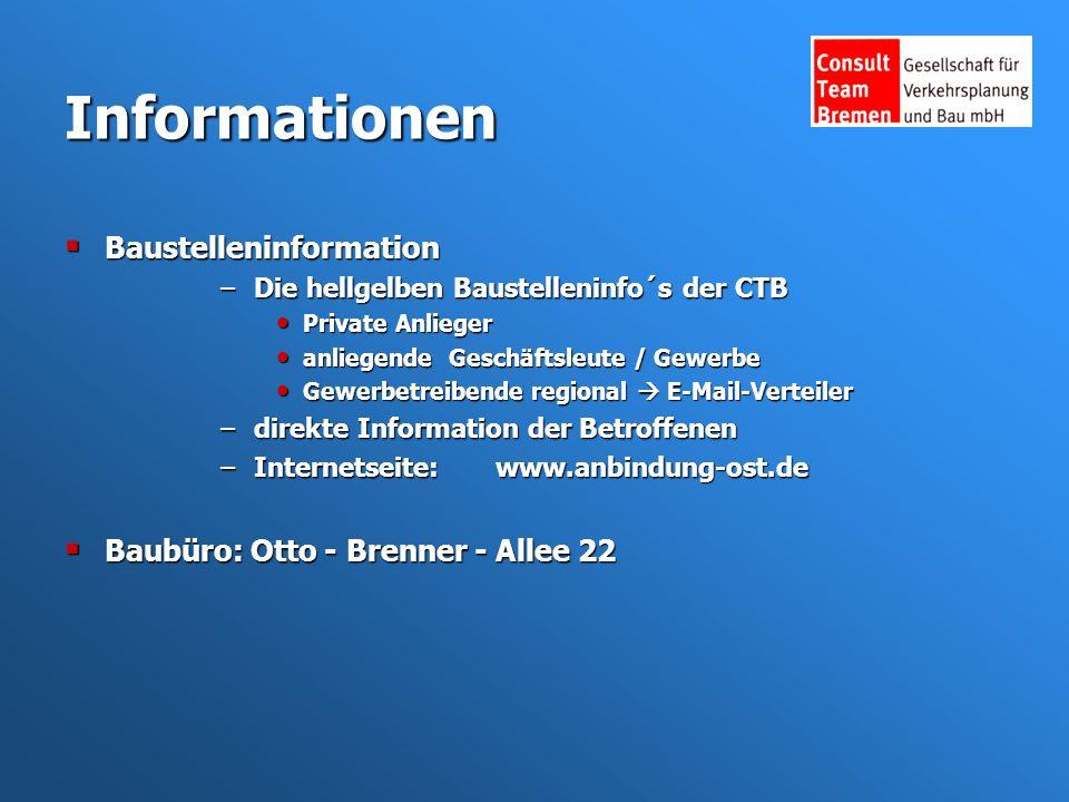 Informationen Baustelleninformation Baustelleninformation –Die hellgelben Baustelleninfo´s der CTB Private Anlieger Private Anlieger anliegende Geschäftsleute / Gewerbe anliegende Geschäftsleute / Gewerbe Gewerbetreibende regional E-Mail-Verteiler Gewerbetreibende regional E-Mail-Verteiler –direkte Information der Betroffenen –Internetseite: www.anbindung-ost.de Baubüro: Otto - Brenner - Allee 22 Baubüro: Otto - Brenner - Allee 22