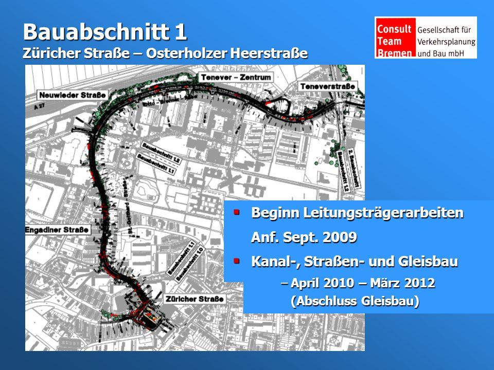 Bauabschnitt 1 Züricher Straße – Osterholzer Heerstraße Beginn Leitungsträgerarbeiten Anf.