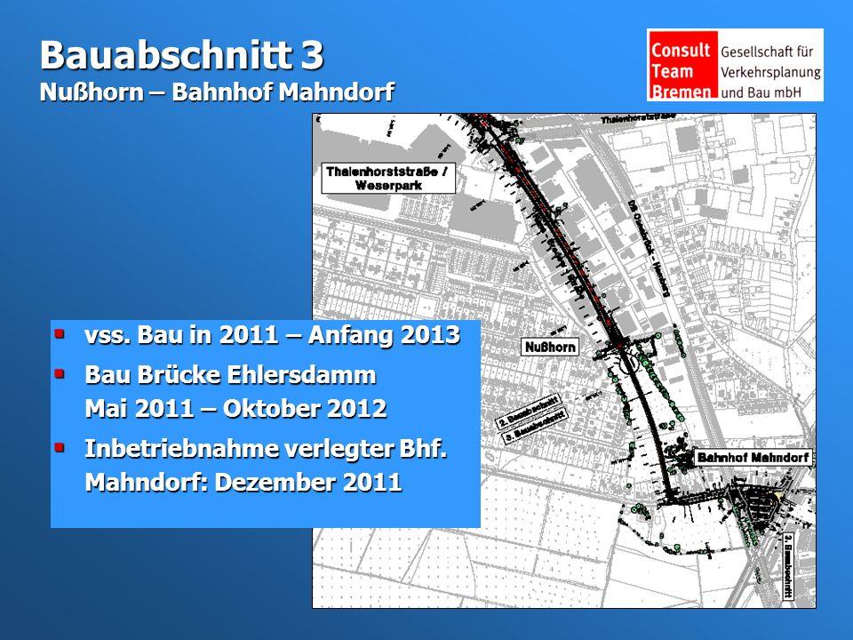 Bauabschnitt 3 Nußhorn – Bahnhof Mahndorf vss. Bau in 2011 – Anfang 2013 vss.