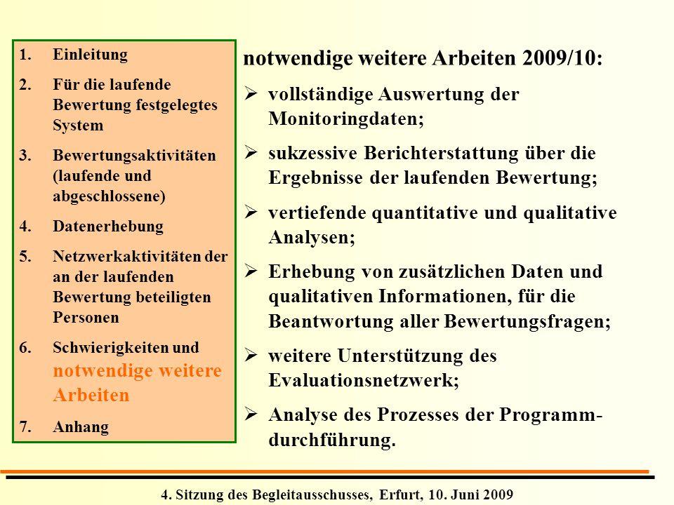 4. Sitzung des Begleitausschusses, Erfurt, 10. Juni 2009 1. 1.Einleitung 2. 2.Für die laufende Bewertung festgelegtes System 3. 3.Bewertungsaktivitäte