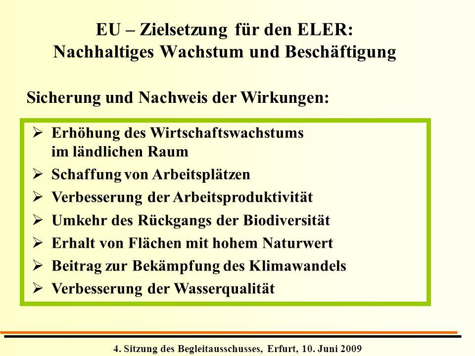 4. Sitzung des Begleitausschusses, Erfurt, 10. Juni 2009 EU – Zielsetzung für den ELER: Nachhaltiges Wachstum und Beschäftigung Sicherung und Nachweis