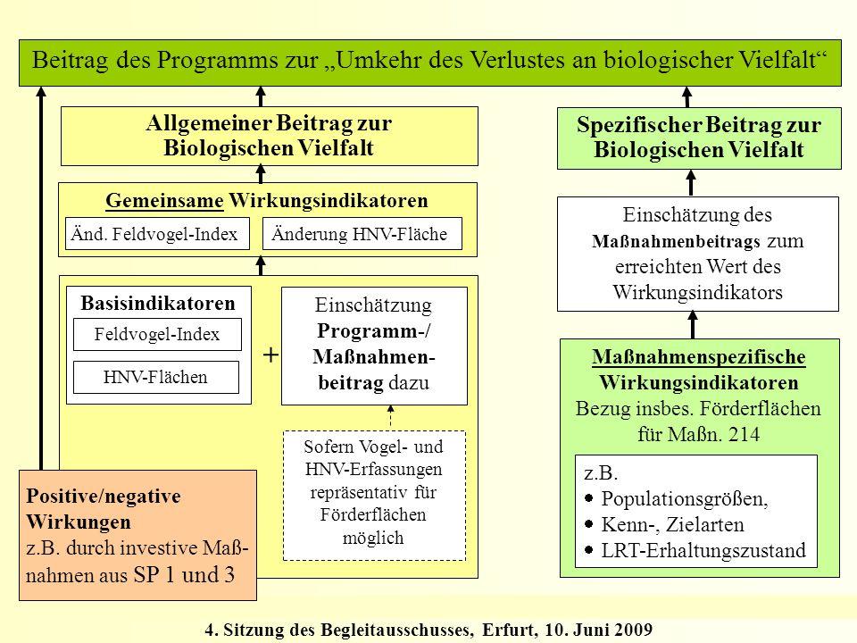 4. Sitzung des Begleitausschusses, Erfurt, 10. Juni 2009 Beitrag des Programms zur Umkehr des Verlustes an biologischer Vielfalt Maßnahmenspezifische