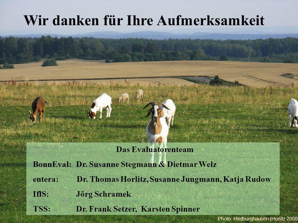Wir danken für Ihre Aufmerksamkeit Das Evaluatorenteam BonnEval: Dr. Susanne Stegmann & Dietmar Welz entera: Dr. Thomas Horlitz, Susanne Jungmann, Kat