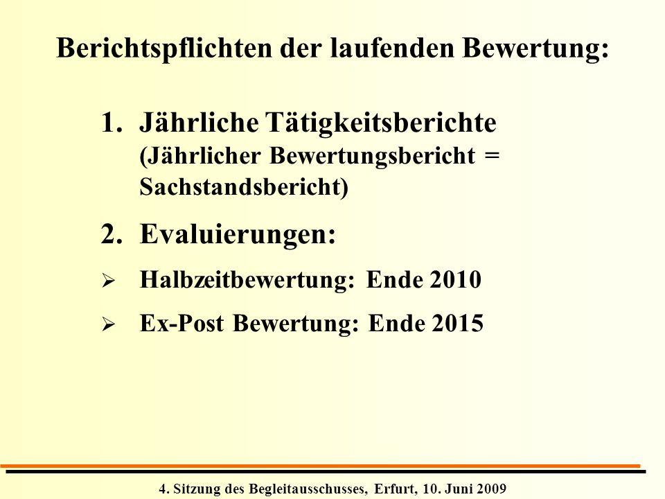 4. Sitzung des Begleitausschusses, Erfurt, 10. Juni 2009 Berichtspflichten der laufenden Bewertung: 1.Jährliche Tätigkeitsberichte (Jährlicher Bewertu