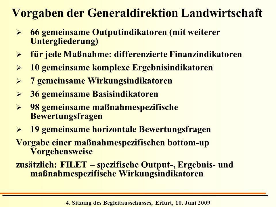 4. Sitzung des Begleitausschusses, Erfurt, 10. Juni 2009 66 gemeinsame Outputindikatoren (mit weiterer Untergliederung) für jede Maßnahme: differenzie