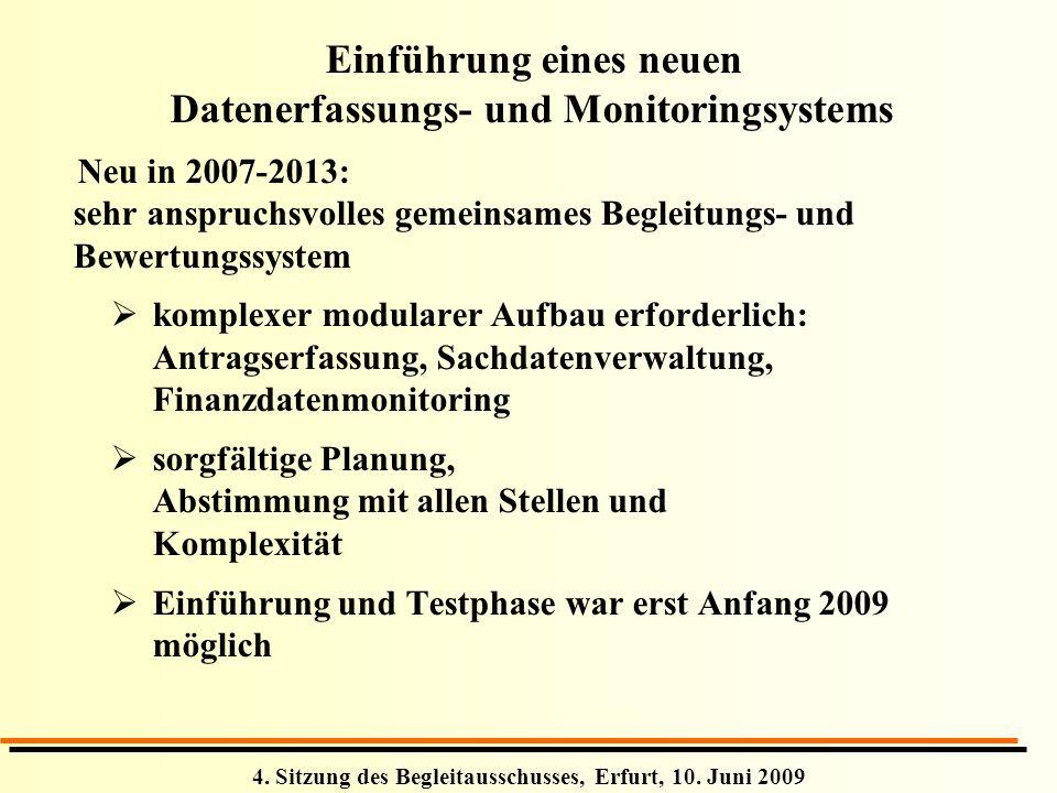 4. Sitzung des Begleitausschusses, Erfurt, 10. Juni 2009 Einführung eines neuen Datenerfassungs- und Monitoringsystems Neu in 2007-2013: sehr anspruch