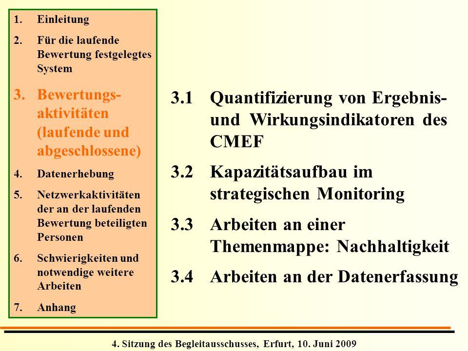 4. Sitzung des Begleitausschusses, Erfurt, 10. Juni 2009 3.1Quantifizierung von Ergebnis- und Wirkungsindikatoren des CMEF 3.2Kapazitätsaufbau im stra