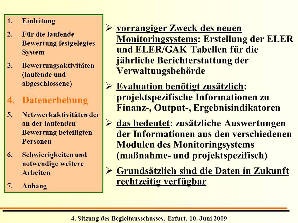4. Sitzung des Begleitausschusses, Erfurt, 10. Juni 2009 vorrangiger Zweck des neuen Monitoringsystems: Erstellung der ELER und ELER/GAK Tabellen für