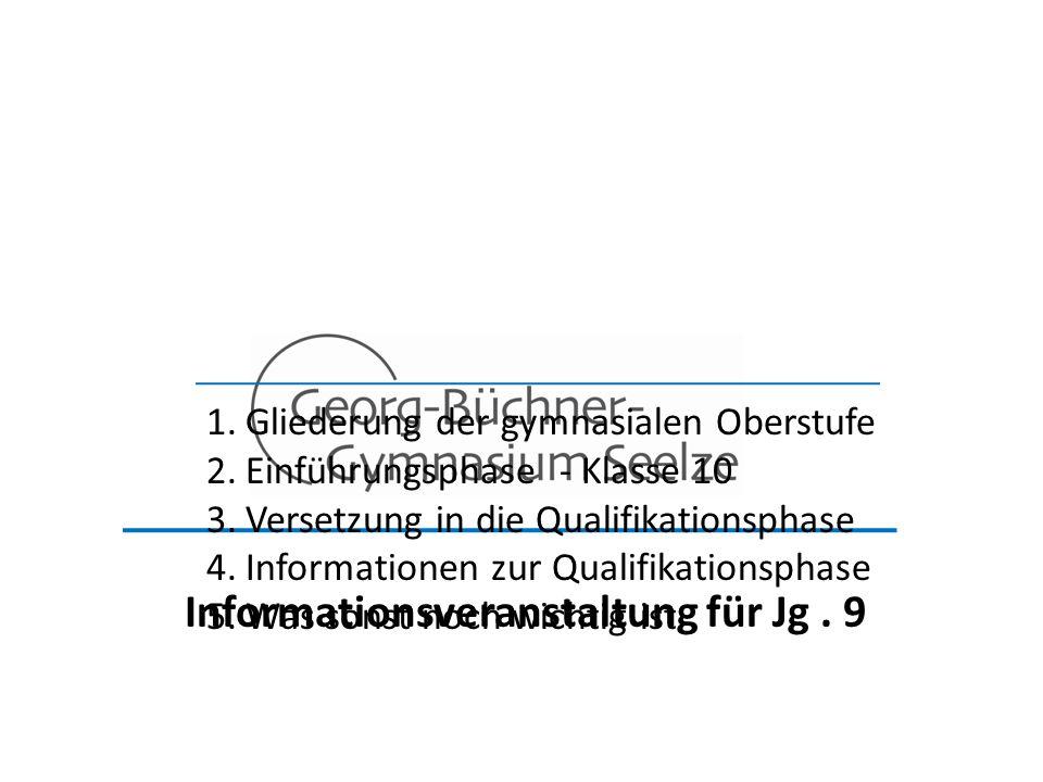 Informationsveranstaltung für Jg. 9 1.Gliederung der gymnasialen Oberstufe 2.Einführungsphase - Klasse 10 3.Versetzung in die Qualifikationsphase 4.In