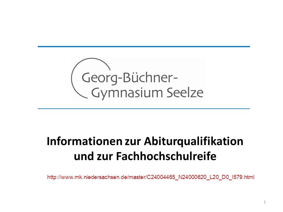 1 Informationen zur Abiturqualifikation und zur Fachhochschulreife http://www.mk.niedersachsen.de/master/C24004465_N24000620_L20_D0_I579.html