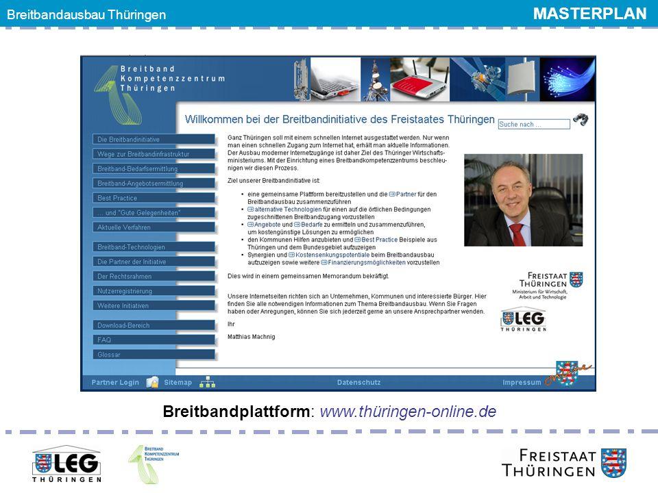 Breitbandplattform: www.thüringen-online.de Breitbandausbau Thüringen MASTERPLAN