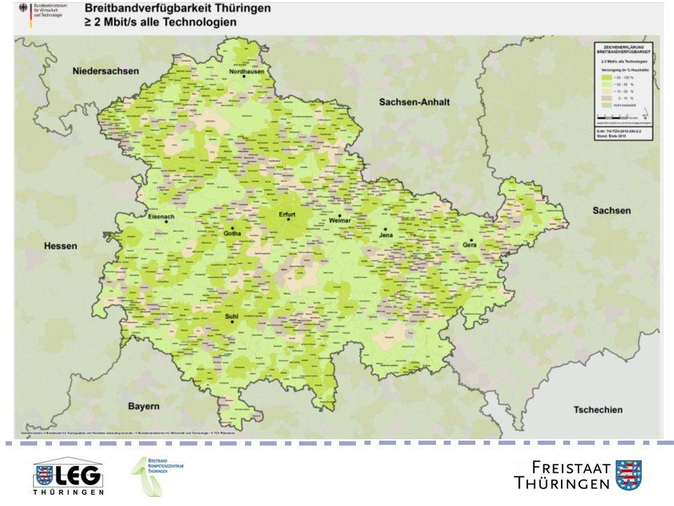aktuelle Breitbandversorgung in Thüringen - im Umkreis von rund 4 km um HVT der Deutschen Telekom - gesondert ausgebaute Orte innerhalb einer Gemeinde - mit mindestens 2 Mbit/s versorgte Gemeinden Breitbandausbau Thüringen MASTERPLAN ohne Mobilfunk und Satellitenzugang