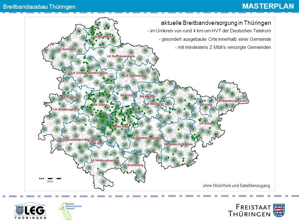 aktuelle Breitbandversorgung in Thüringen - im Umkreis von rund 4 km um HVT der Deutschen Telekom - gesondert ausgebaute Orte innerhalb einer Gemeinde