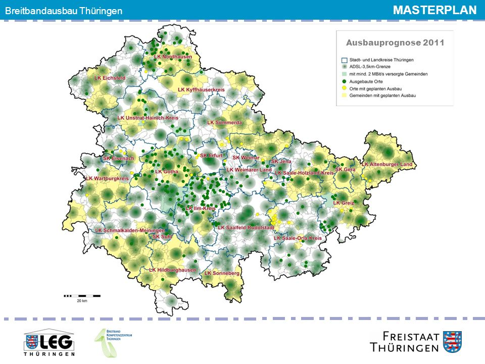Breitbandgipfel 24. Juni 2011 Ausbauprognose 2011 Breitbandausbau Thüringen MASTERPLAN