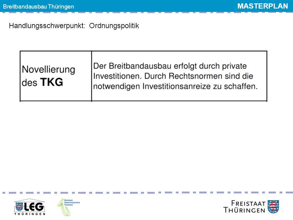 Breitbandgipfel 24. Juni 2011 Handlungsschwerpunkt: Ordnungspolitik Breitbandausbau Thüringen MASTERPLAN
