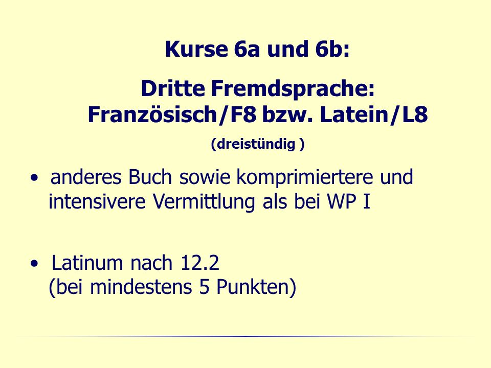 Kurse 6a und 6b: Dritte Fremdsprache: Französisch/F8 bzw.
