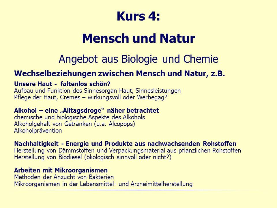 Kurs 4: Mensch und Natur Angebot aus Biologie und Chemie Wechselbeziehungen zwischen Mensch und Natur, z.B.