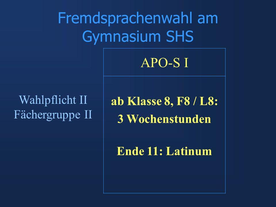 Fremdsprachenwahl am Gymnasium SHS APO-S I ab Klasse 8, F8 / L8: 3 Wochenstunden Ende 11: Latinum Wahlpflicht II Fächergruppe II
