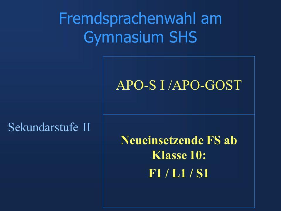 Fremdsprachenwahl am Gymnasium SHS APO-S I /APO-GOST Neueinsetzende FS ab Klasse 10: F1 / L1 / S1 Sekundarstufe II