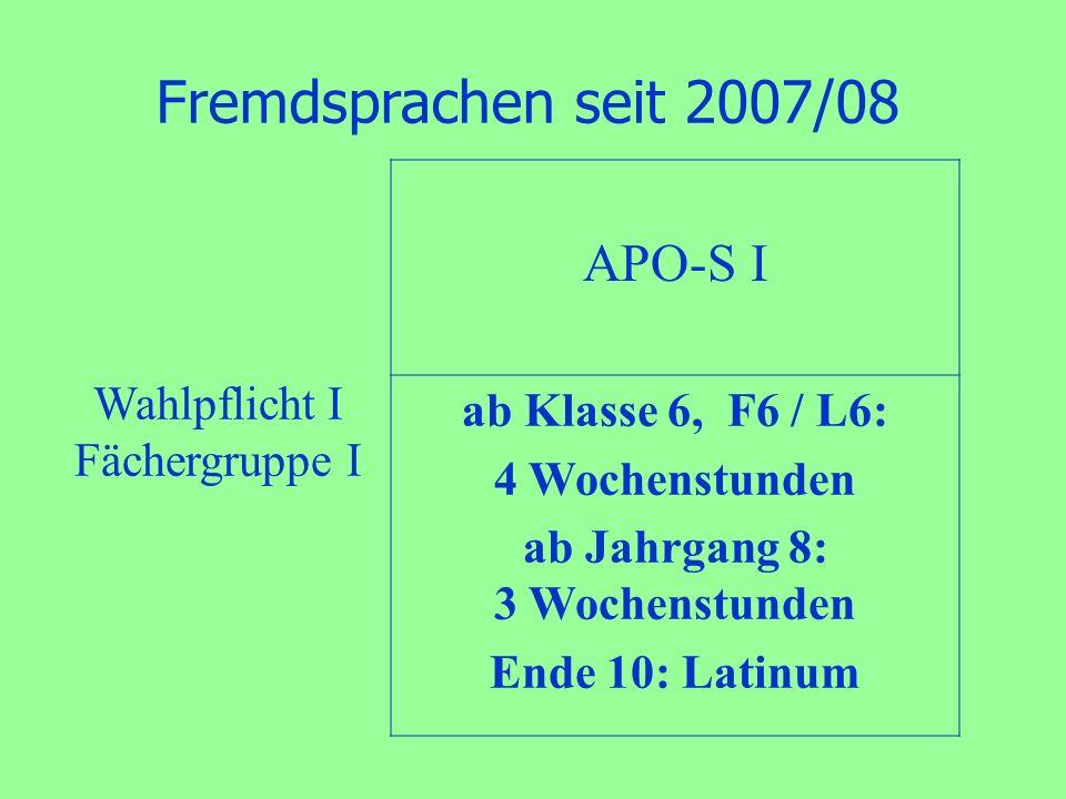 Fremdsprachen seit 2007/08 APO-S I ab Klasse 6, F6 / L6: 4 Wochenstunden ab Jahrgang 8: 3 Wochenstunden Ende 10: Latinum Wahlpflicht I Fächergruppe I