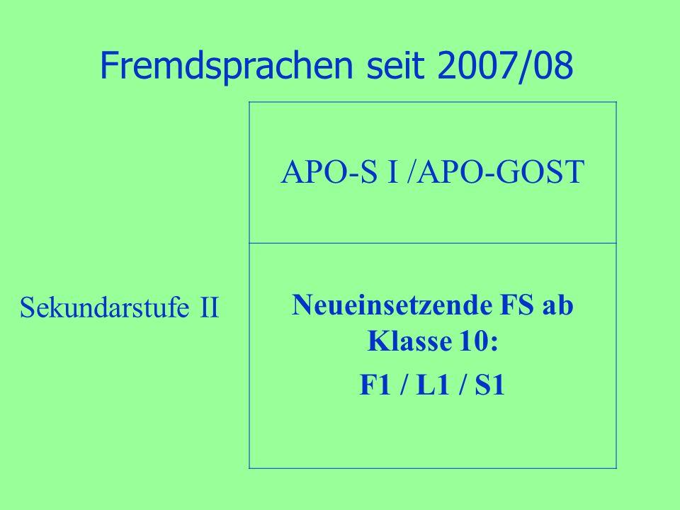 Fremdsprachen seit 2007/08 APO-S I /APO-GOST Neueinsetzende FS ab Klasse 10: F1 / L1 / S1 Sekundarstufe II