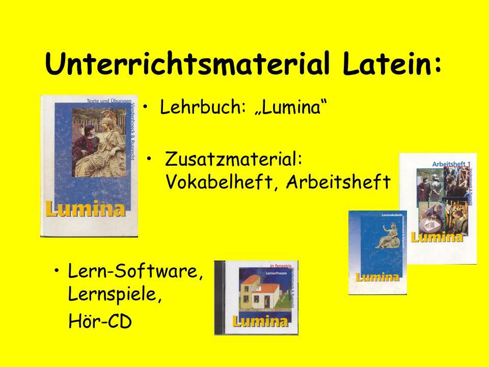 Unterrichtsmaterial Latein: Lehrbuch: Lumina Zusatzmaterial: Vokabelheft, Arbeitsheft Lern-Software, Lernspiele, Hör-CD