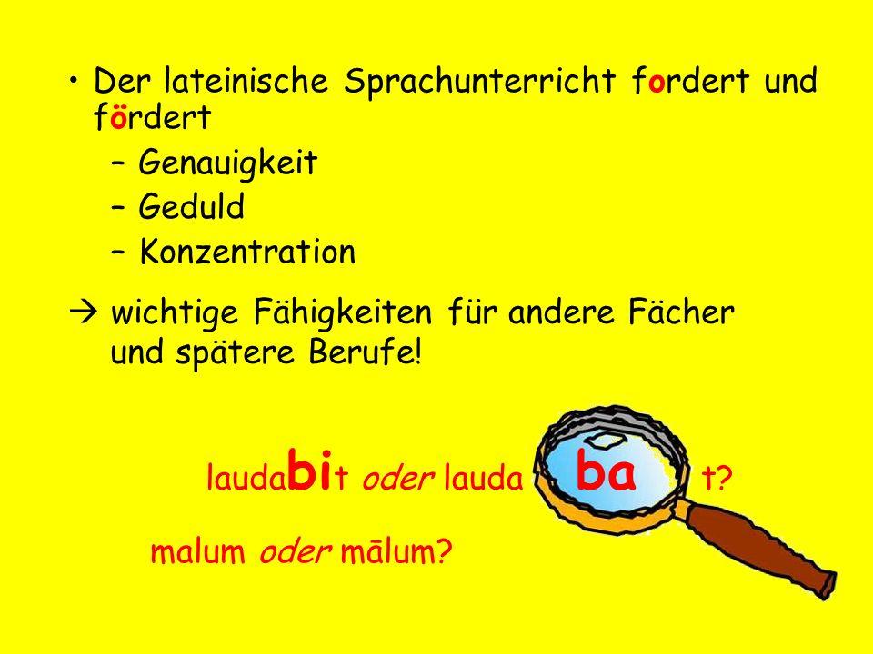 Inhalte des Latein-Unterrichts: 1.Lateinische Sprache Vokabeln, Grammatik...