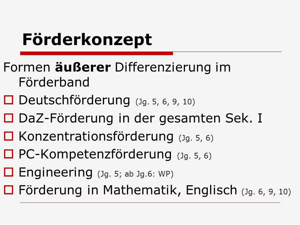 Förderkonzept Formen äußerer Differenzierung im Förderband Deutschförderung (Jg. 5, 6, 9, 10) DaZ-Förderung in der gesamten Sek. I Konzentrationsförde