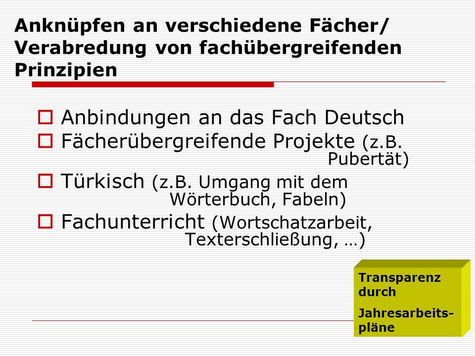 Anknüpfen an verschiedene Fächer/ Verabredung von fachübergreifenden Prinzipien Anbindungen an das Fach Deutsch Fächerübergreifende Projekte (z.B. Pub