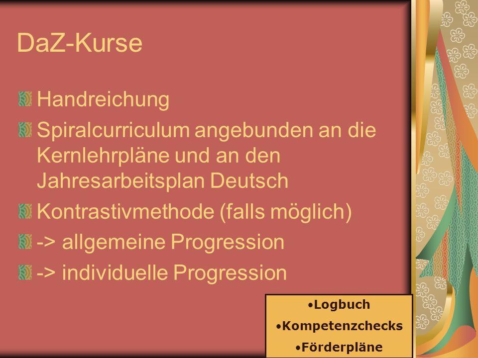 DaZ-Kurse Handreichung Spiralcurriculum angebunden an die Kernlehrpläne und an den Jahresarbeitsplan Deutsch Kontrastivmethode (falls möglich) -> allg