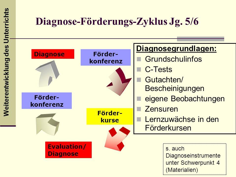 Weiterentwicklung des Unterrichts Diagnose-Förderungs-Zyklus Jg. 5/6 Diagnosegrundlagen: Grundschulinfos C-Tests Gutachten/ Bescheinigungen eigene Beo