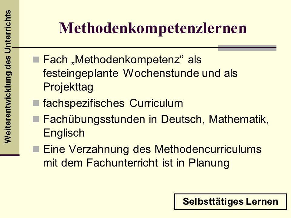 Weiterentwicklung des Unterrichts Methodenkompetenzlernen Fach Methodenkompetenz als festeingeplante Wochenstunde und als Projekttag fachspezifisches