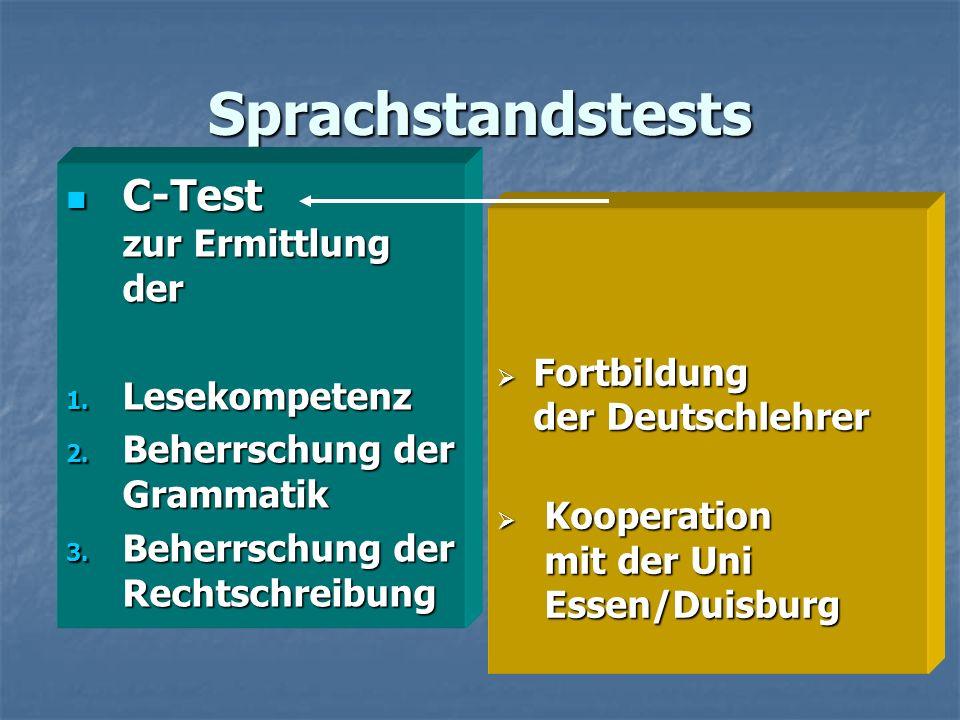 Sprachstandstests C-Test zur Ermittlung der C-Test zur Ermittlung der 1. Lesekompetenz 2. Beherrschung der Grammatik 3. Beherrschung der Rechtschreibu