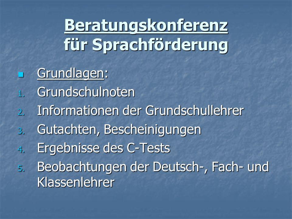 Beratungskonferenz für Sprachförderung Grundlagen: Grundlagen: 1. Grundschulnoten 2. Informationen der Grundschullehrer 3. Gutachten, Bescheinigungen