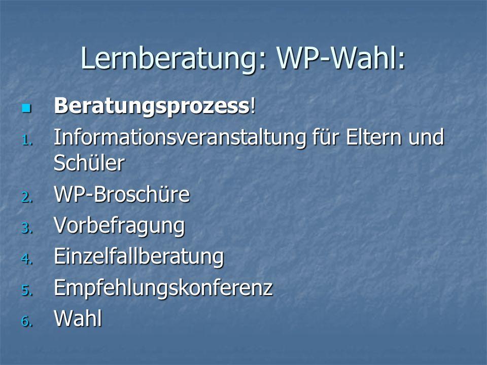 Lernberatung: WP-Wahl: Beratungsprozess! Beratungsprozess! 1. Informationsveranstaltung für Eltern und Schüler 2. WP-Broschüre 3. Vorbefragung 4. Einz