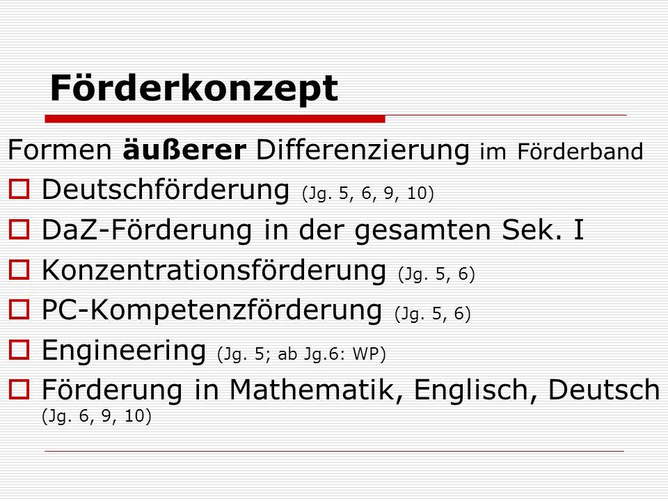 Jahrgang 5: Sprachförderung im Förderband Grund- förderung LRS DaZ Konzen- trations- förderung Engineering epochal: PC-Kompetenz