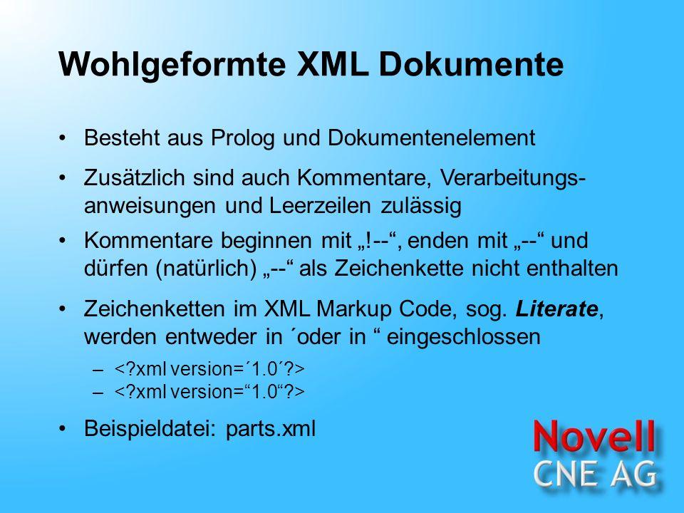 Wohlgeformte XML Dokumente Besteht aus Prolog und Dokumentenelement Zusätzlich sind auch Kommentare, Verarbeitungs- anweisungen und Leerzeilen zulässig Kommentare beginnen mit !--, enden mit -- und dürfen (natürlich) -- als Zeichenkette nicht enthalten – Zeichenketten im XML Markup Code, sog.
