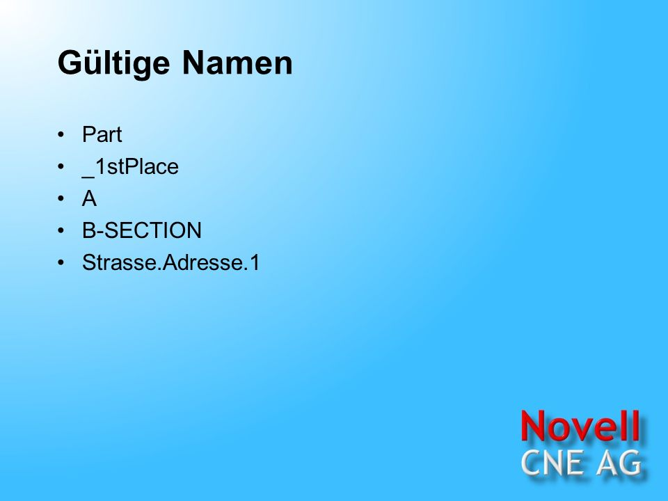 Gültige Namen Part _1stPlace A B-SECTION Strasse.Adresse.1