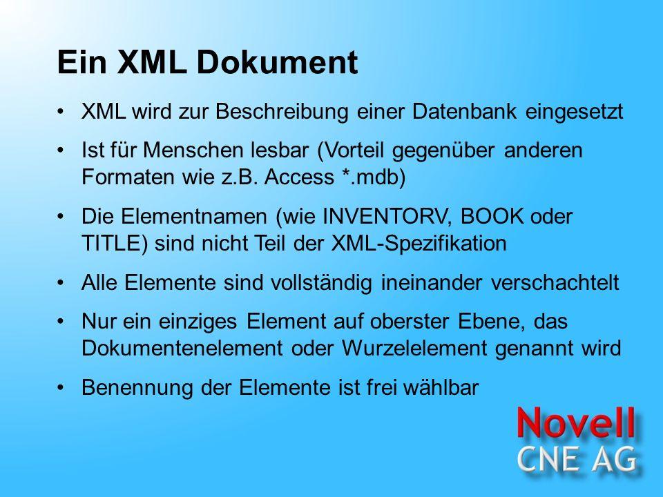 Ein XML Dokument XML wird zur Beschreibung einer Datenbank eingesetzt Ist für Menschen lesbar (Vorteil gegenüber anderen Formaten wie z.B.