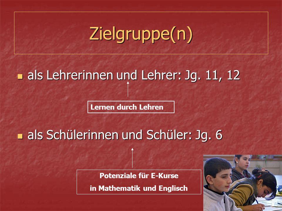 Zielgruppe(n) als Schülerinnen und Schüler: Jg. 6 als Schülerinnen und Schüler: Jg.