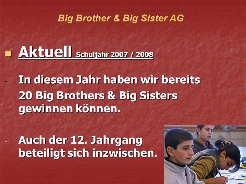 Aktuell Schuljahr 2007 / 2008 Aktuell Schuljahr 2007 / 2008 - In diesem Jahr haben wir bereits 20 Big Brothers & Big Sisters gewinnen können.