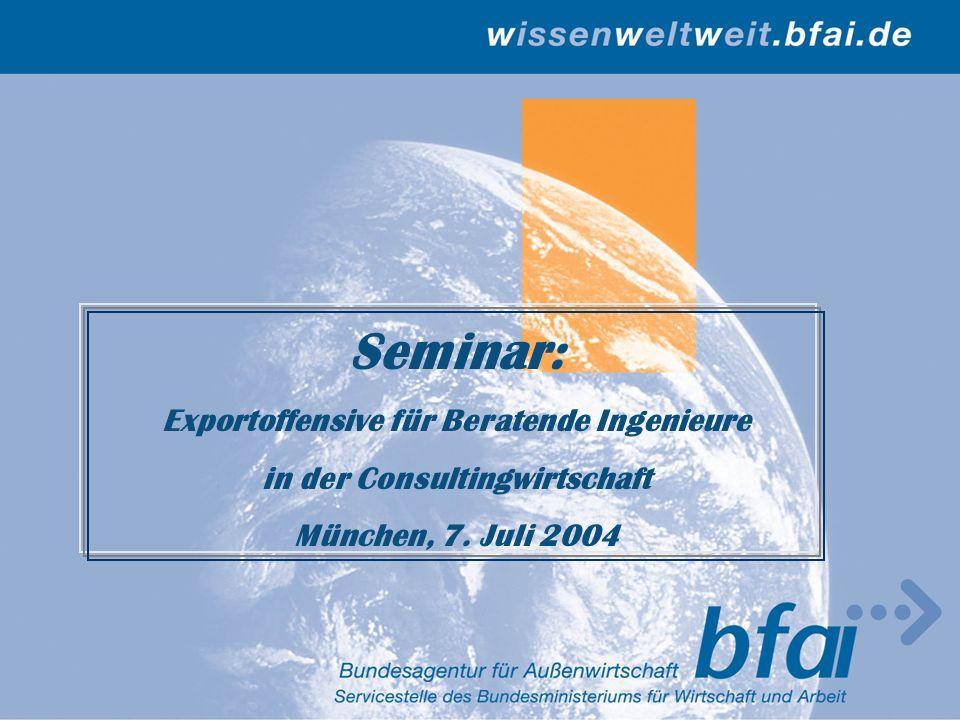 Folie 2 Drei Säulen der Außenwirtschaftsförderung bfai AHK Botschaft Informiert in Deutschland über Geschäftsmög- lichkeiten auf Auslandsmärkten Betreut, berät, unterstützt und repräsentiert deutsche Unternehmen im Gastland Vertritt allg.