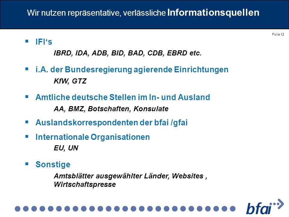 Folie 12 Wir nutzen repräsentative, verlässliche Informationsquellen IFIs IBRD, IDA, ADB, BID, BAD, CDB, EBRD etc. i.A. der Bundesregierung agierende