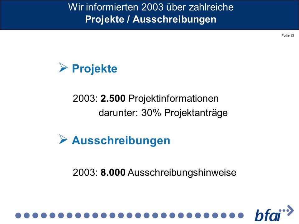 Folie 13 Wir informierten 2003 über zahlreiche Projekte / Ausschreibungen Projekte 2003: 2.500 Projektinformationen darunter: 30% Projektanträge Aussc