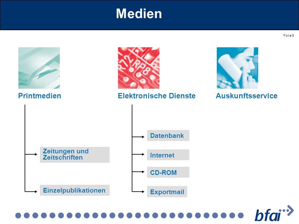 Folie 5 Medien PrintmedienElektronische Dienste Zeitungen und Zeitschriften Einzelpublikationen Datenbank Internet CD-ROM Exportmail Auskunftsservice