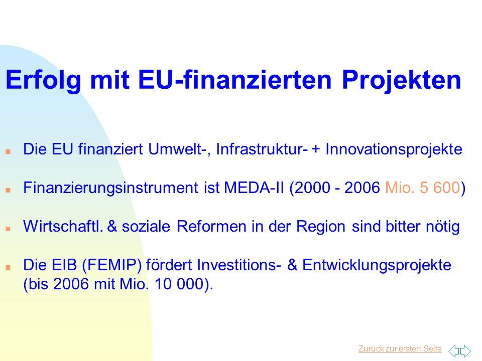 Zurück zur ersten Seite Erfolg mit EU-finanzierten Projekten n Die EU finanziert Umwelt-, Infrastruktur- + Innovationsprojekte n Finanzierungsinstrument ist MEDA-II (2000 - 2006 Mio.