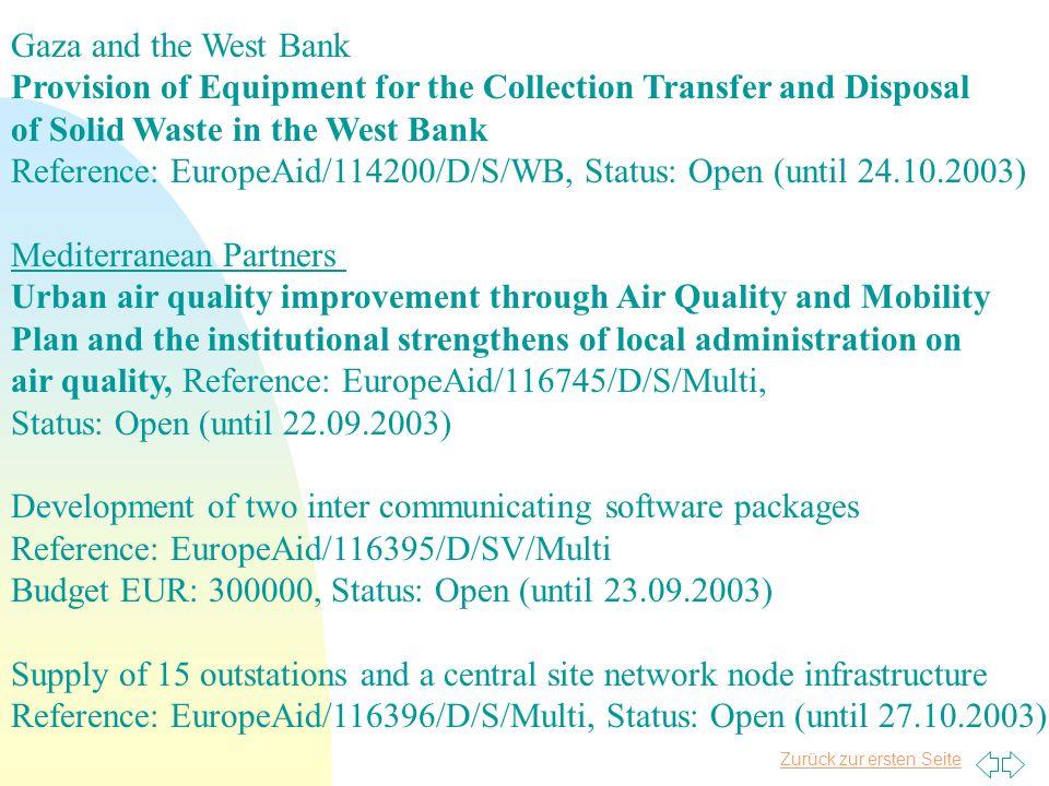 Zurück zur ersten Seite Jordanien n Emergency budgetary aid ( 35 Mio.) offsetting neg. effects of the war in Iraq & stabilize the economy n Reinforce