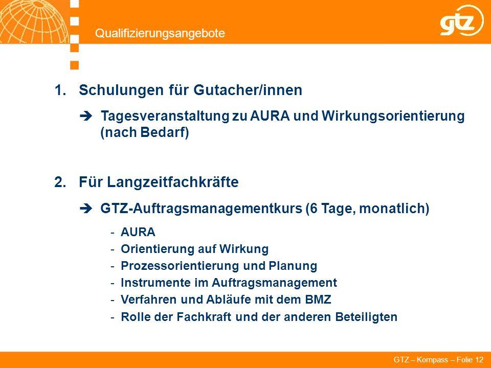 GTZ – Kompass – Folie 12 Qualifizierungsangebote 1.Schulungen für Gutacher/innen Tagesveranstaltung zu AURA und Wirkungsorientierung (nach Bedarf) 2.F