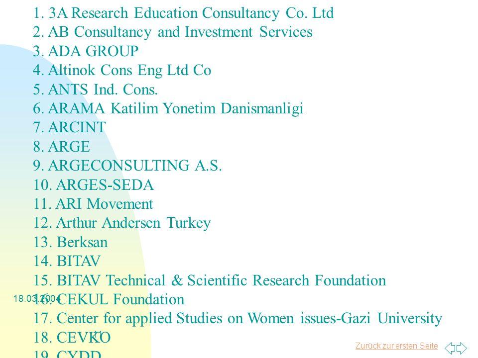 Zurück zur ersten Seite 18.03.2004 11 1. 3A Research Education Consultancy Co.