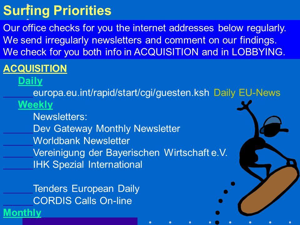 Surfing Priorities ACQUISITION Daily europa.eu.int/rapid/start/cgi/guesten.ksh Daily EU-News Weekly Newsletters: Dev Gateway Monthly Newsletter Worldbank Newsletter Vereinigung der Bayerischen Wirtschaft e.V.